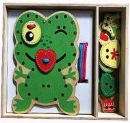 Zöld békás készségfejlesztő fa játék sok kiegészítővel