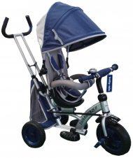 Black November - Baby Mix 360 Turbo tricikli tolókarral és lábtartóval kék színben (360°-ban forgatható ülés)