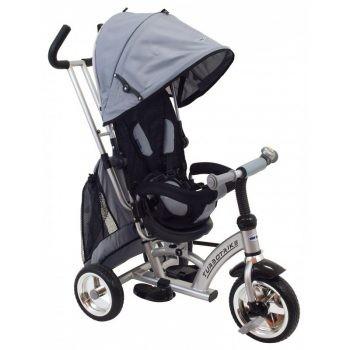 Baby Mix 360 Turbo tricikli tolókarral és lábtartóval szürke színben (360°-ban forgatható ülés)