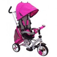 Black November - Baby Mix 360 Turbo tricikli tolókarral és lábtartóval pink színben (360°-ban forgatható ülés)