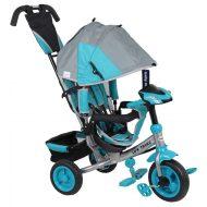 Baby Mix Lux Trike tricikli tolókarral és lábtartóval szürke-kék színben (zenélő műszerfal és fények)