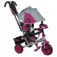 Baby Mix Lux Trike tricikli tolókarral és lábtartóval szürke-pink színben (zenélő műszerfal és fények)