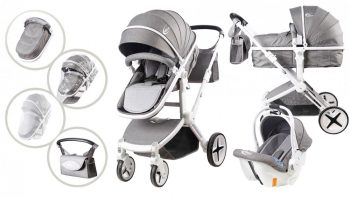 Mama Kiddies Grey Fox 3az1-ben babakocsi kiegészítőkkel ezüst-fehér színben + Ajándék