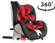 ISOFIX-es 360°-ban forgatható MamaKiddies Rotary biztonsági autósülés (0-36 kg) fekete-piros színben + ajándék