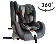 ISOFIX-es 360°-ban forgatható MamaKiddies Rotary biztonsági autósülés (0-36 kg) szürke színben