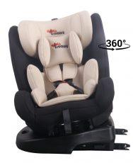 KIÁRUSÍTÁS - ISOFIX-es 360°-ban forgatható MamaKiddies Angel Rotary biztonsági autósülés (0-36 kg) bézs színben