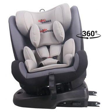 KIÁRUSÍTÁS - ISOFIX-es 360°-ban forgatható MamaKiddies Angel Rotary biztonsági autósülés (0-36 kg) szürke színben